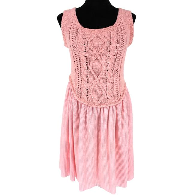 Boutique Moschino Pink Cable Knit Short Casual Dress Size 6 (S) Boutique Moschino Pink Cable Knit Short Casual Dress Size 6 (S) Image 1