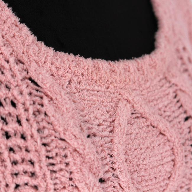 Boutique Moschino Pink Cable Knit Short Casual Dress Size 6 (S) Boutique Moschino Pink Cable Knit Short Casual Dress Size 6 (S) Image 3