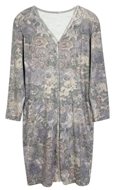 Item - Cream Purple Neutral Floral Pearl Button Sweater Sheath Mid-length Short Casual Dress Size 14 (L)