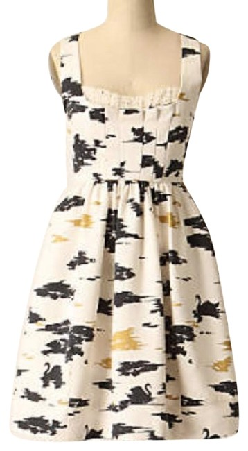 Preload https://img-static.tradesy.com/item/27712209/anthropologie-white-black-gold-mid-length-cocktail-dress-size-6-s-0-1-650-650.jpg
