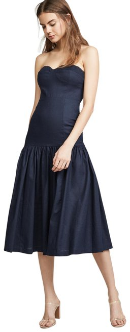Item - Navy Fiore Strapless Midi Mid-length Cocktail Dress Size 6 (S)