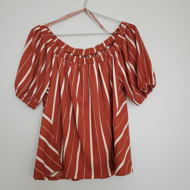 Item - Off The Shoulder Striped Blouse Rust Top