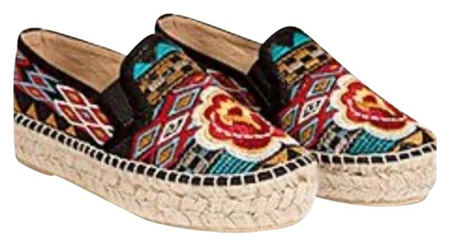 Item - Black Multi Elysia Embroidered Boho Espadrille Flats Size US 6 Regular (M, B)