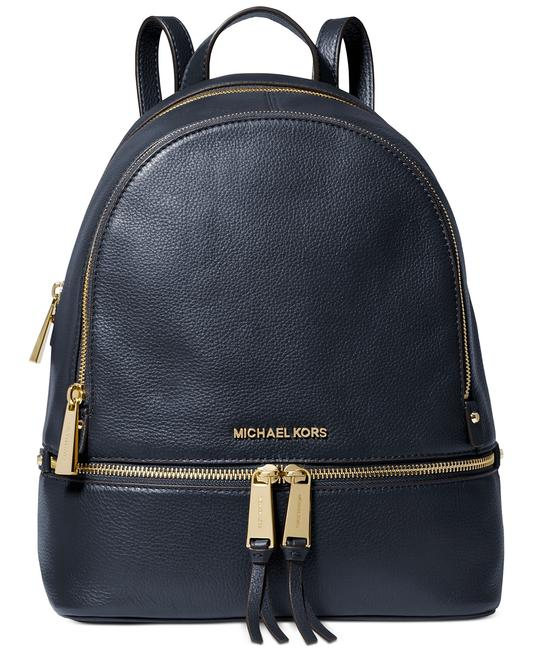 Item - Rhea Zip Small Admiral Navy Blue/Gold Leather Backpack