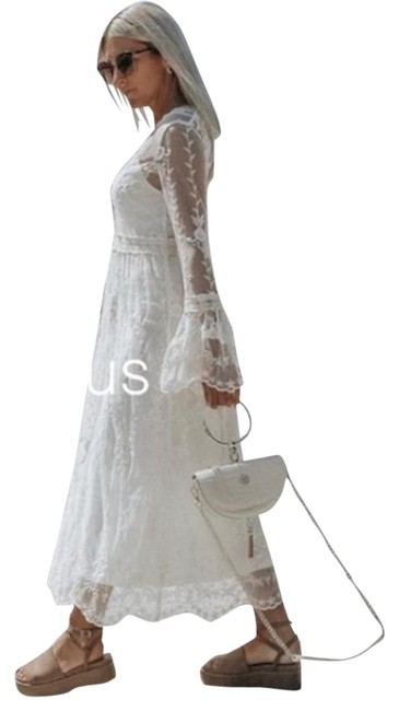 Item - Cream Embroidered Lace Long Casual Maxi Dress Size 12 (L)