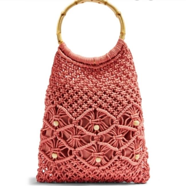 Item - Macrame Crochet Pink Tan Beach Bag