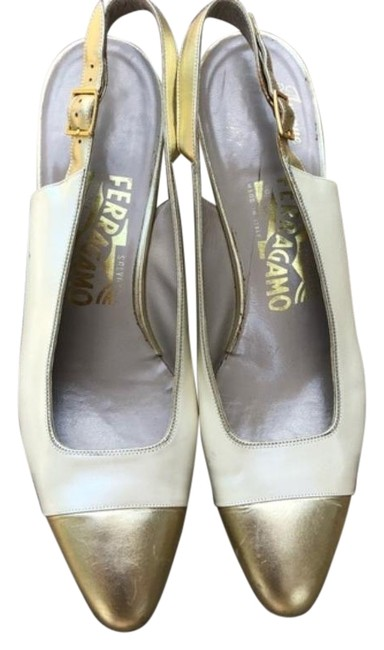 Item - Gold Cream Creme Sling Back Heels Pumps Size US 8.5 Narrow (Aa, N)