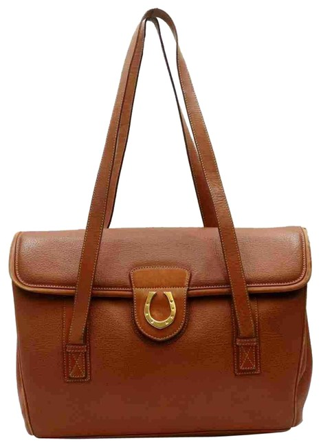 Item - Bag Top Handle Multi Compartment W/Gold Brown W Gold Horseshoe Leather Satchel