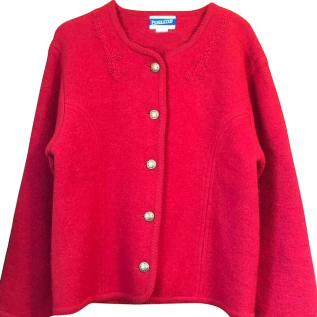 Item - Red Embroidered Wool Jacket Blazer Size 4 (S)