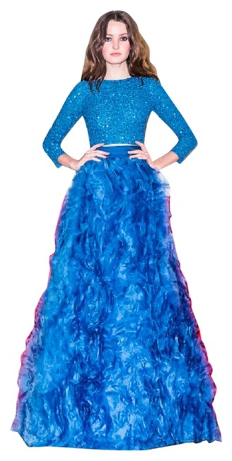 Item - Blue Posey Ruffle Ball Gown Skirt Size 0 (XS, 25)