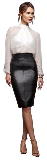BCBGMAXAZRIA Black Leather Pencil Skirt Size 0 (XS, 25) BCBGMAXAZRIA Black Leather Pencil Skirt Size 0 (XS, 25) Image 1