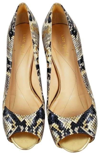 Item - Multi-color Snake Skin Peep Toe Pumps Size US 8 Regular (M, B)