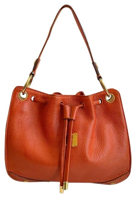 Item - Bag Pebbled Studded Logo Motifs Drawstring Small Red Leather Tote