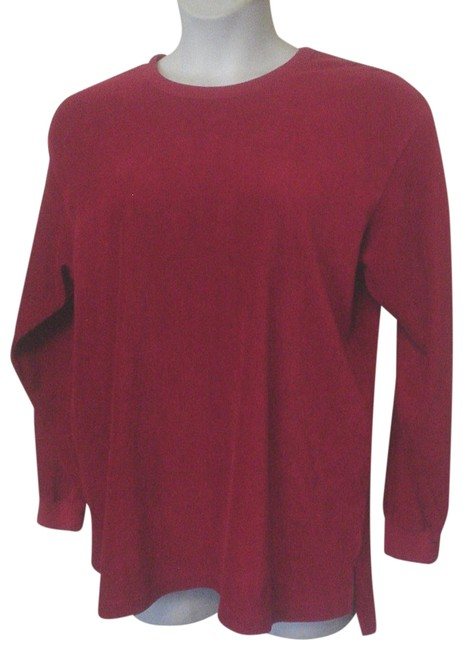 Item - Red Sport Ribbed Long Sleeve Shirt Ec Tunic Size 10 (M)