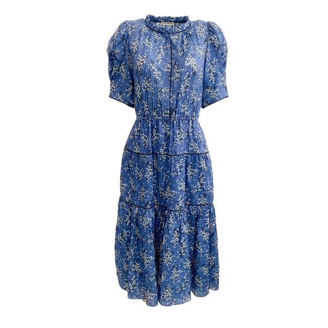 Item - Blue / White Floral Tiered Mid-length Short Casual Dress Size 8 (M)