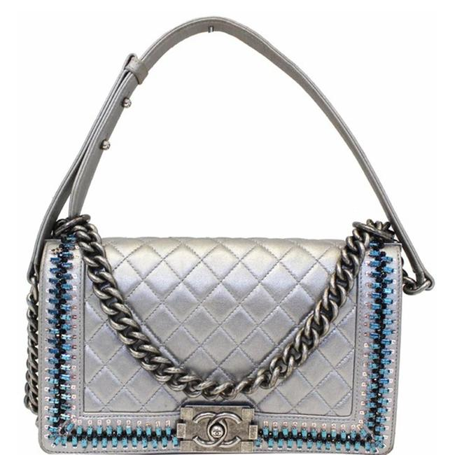 Item - Handbag Boy Medium Embroidered Silver Lambskin Leather Shoulder Bag