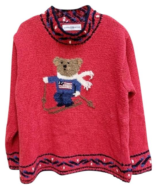 Item - Vintage Skiing Teddy Bear Linen Cotton Red Blue Sweater