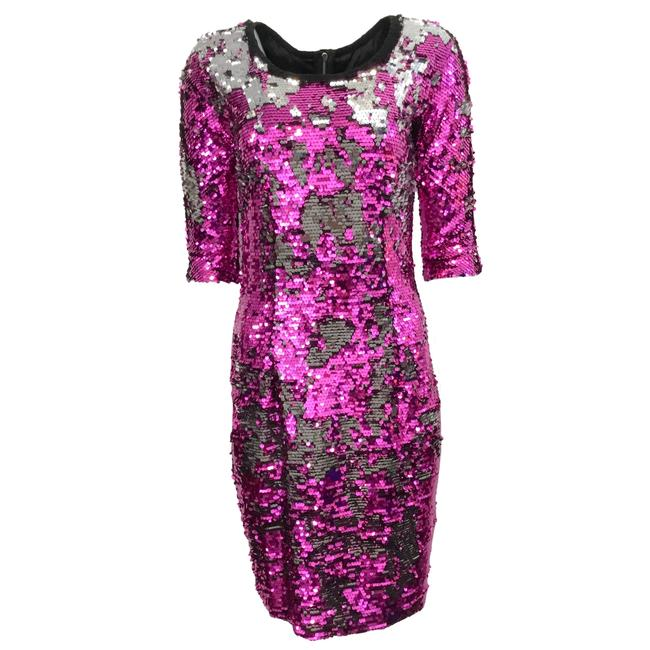 Item - Fuchsia/Silver Color-changing Sequin Mid-length Formal Dress Size 8 (M)