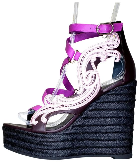 Item - Purple New Leather and Pink Lace Wedge 37.5 - Sandals Size US 7.5 Regular (M, B)