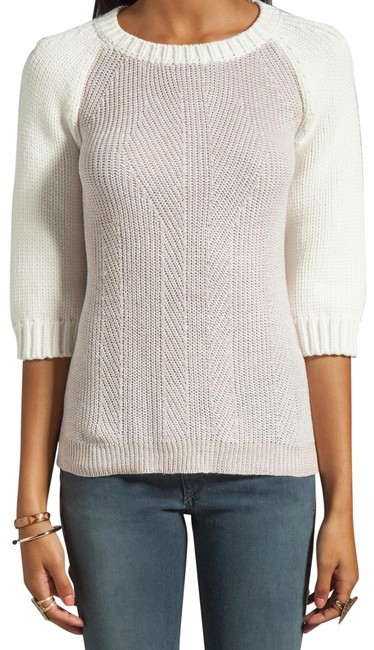 Item - Edgemont Revolve 3/4 Sleeve Ribbed Knit White Tan Sweater