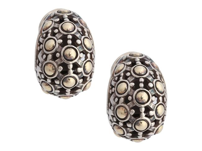 Item - Silver Sterling and 18k Yellow Gold Jaisalmer Dot Buddha Belly Pierced Earrings