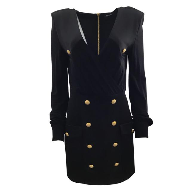 Item - Black Gold Buttons Mid-length Cocktail Dress Size 6 (S)