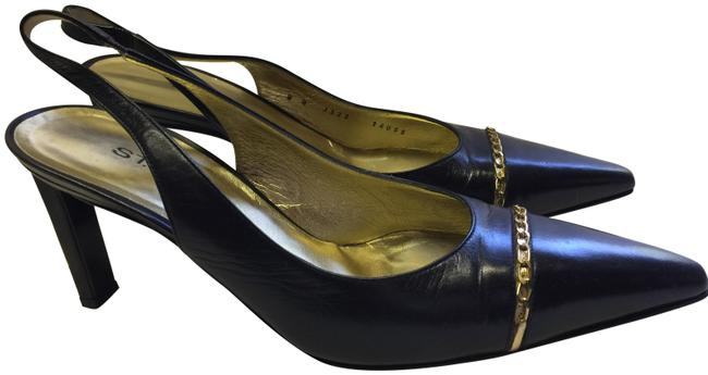 Item - Black Gold Ankle Strap Italy Pumps Size US 8 Regular (M, B)