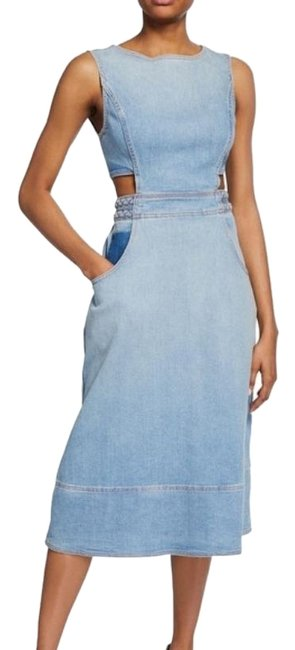 Item - Blue Gray 'the Braided Nightfall' Cutout Waist Denim Mid-length Short Casual Dress Size 4 (S)