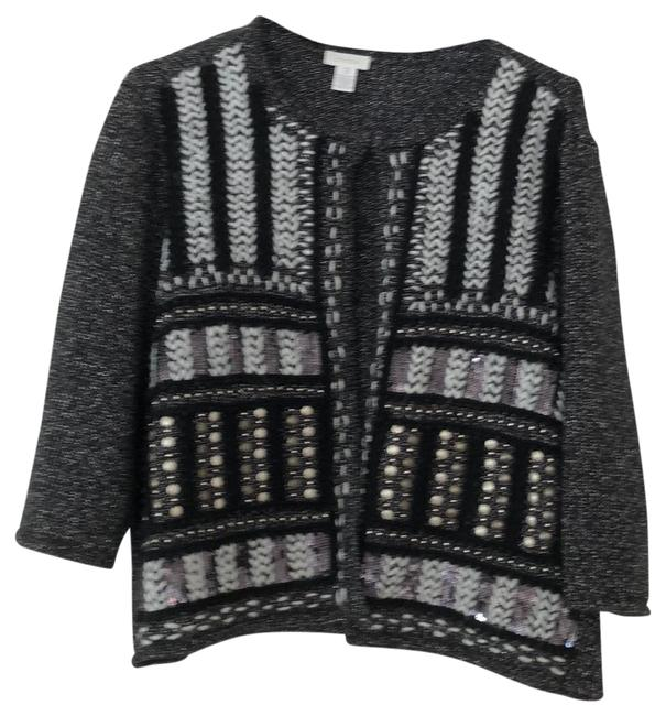 Item - Black and Silver Open Front Sweater Jacket Embellished Cardigan Size 14 (L)