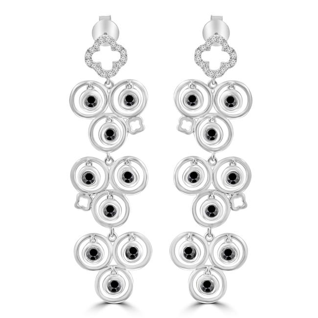 Item - White 1.02 Ct and Black Round Cut Diamond Chandelier In 14 Kt Earrings