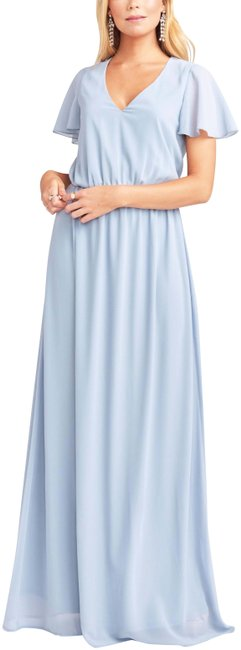 Item - Steel Blue Chiffon Michelle Flutter Long Casual Maxi Dress Size 16 (XL, Plus 0x)
