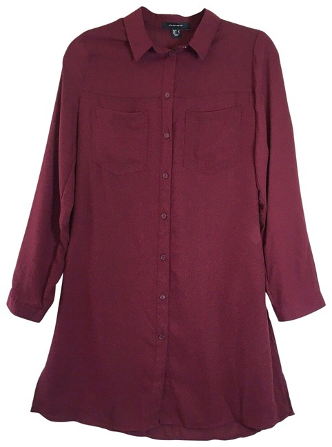 Item - Maroon Red Collared Long Sleeve Button Down Tunic Short Casual Dress Size 4 (S)