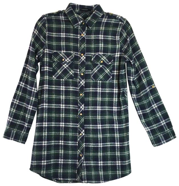 Item - Green / Navy Plaid Flannel Button Down Pocket Short Casual Dress Size 4 (S)