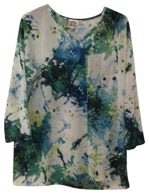Item - Blue Green and White Rn 90312 Ca 20059 Blouse Size 12 (L)
