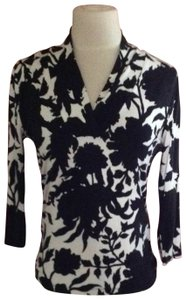Talbots Top black and cream