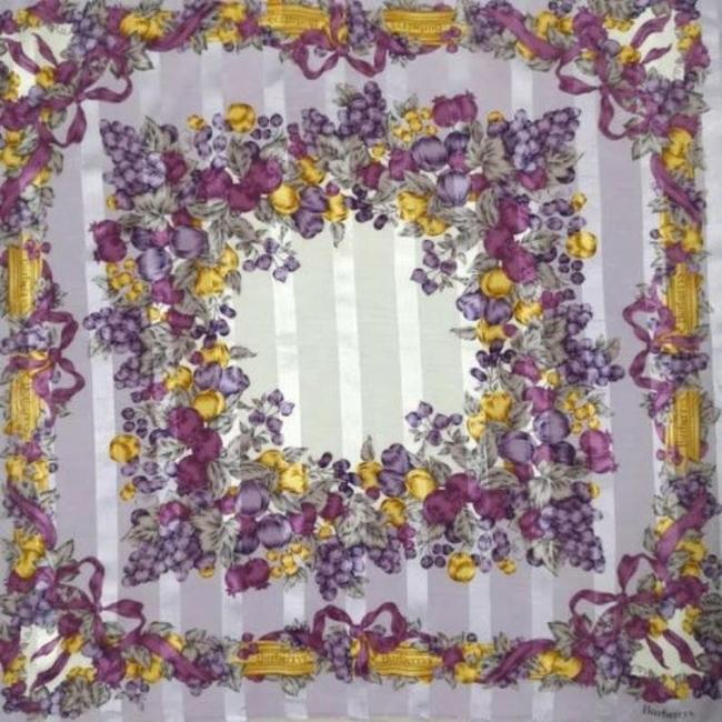 Item - Purple/Gold/White/Grey/Plum Striped/Bows/Fruit/Floral Silk Jacquard Scarf/Wrap