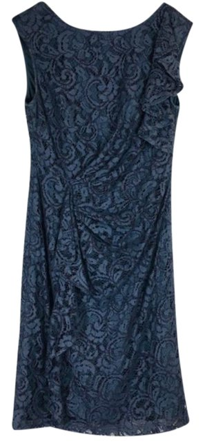 Item - Grey Floral Lace Mid-length Cocktail Dress Size 6 (S)