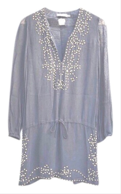 Item - Embellished Grey Tunic Dropped Tied Waist Short Night Out Dress Size 0 (XS)
