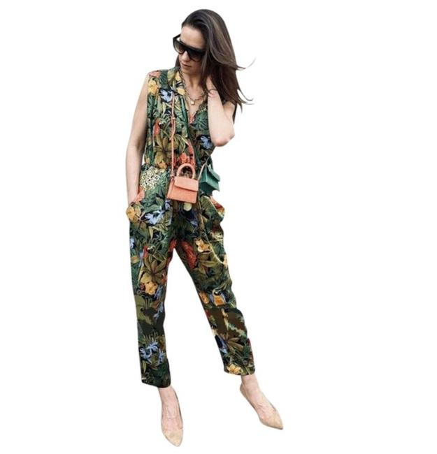 Item - Green Tropical Print Satin Romper/Jumpsuit