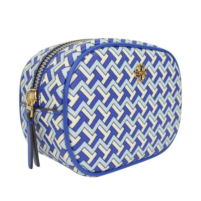Item - Blue T Tile Allover Travel Pouch Cosmetic Bag