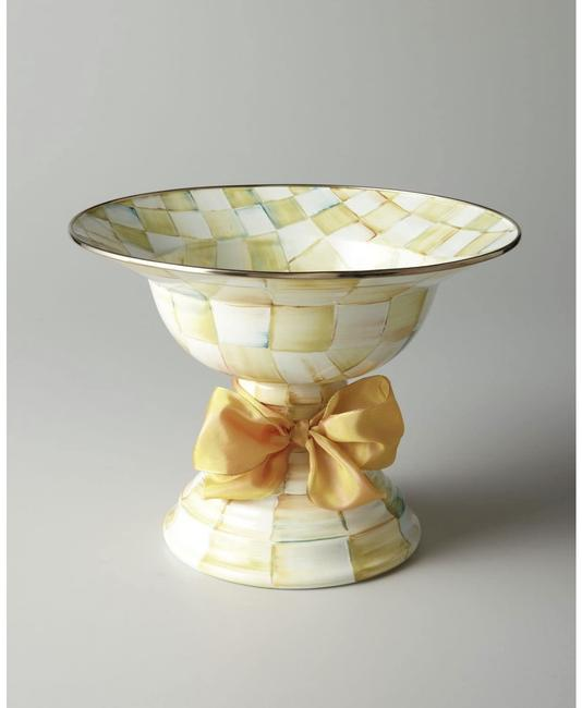 Item - Yellow Parchment Check Large Compote