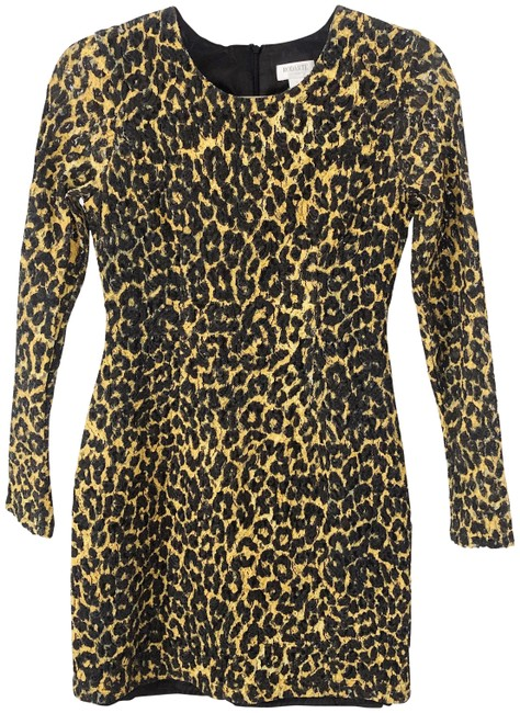 Item - Yellow and Black Leopard Lace Bodycon Bows Short Night Out Dress Size 2 (XS)