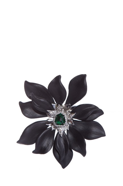 Item - Black Silver Crystal & Lucite Flower Pin Brooch