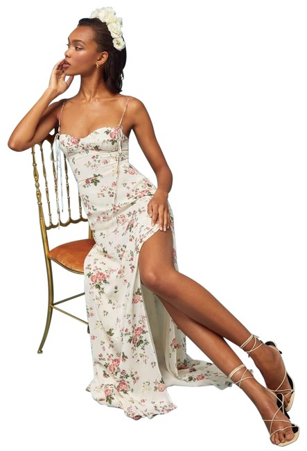 Item - White Floral Pinot Flourish Gown Long Casual Maxi Dress Size 6 (S)