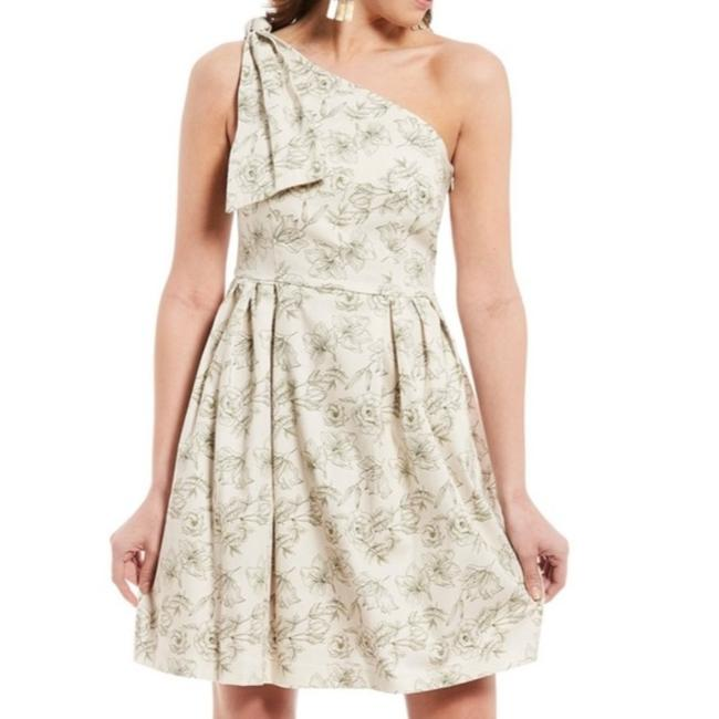 Gianni Bini Cream and Green Britt One Shoulder Toile Floral Print Short Casual Dress Size 2 (XS) Gianni Bini Cream and Green Britt One Shoulder Toile Floral Print Short Casual Dress Size 2 (XS) Image 1