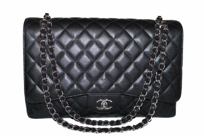 Chanel Classic Flap Quilted Maxi Single Black Caviar Leather Shoulder Bag Chanel Classic Flap Quilted Maxi Single Black Caviar Leather Shoulder Bag Image 1