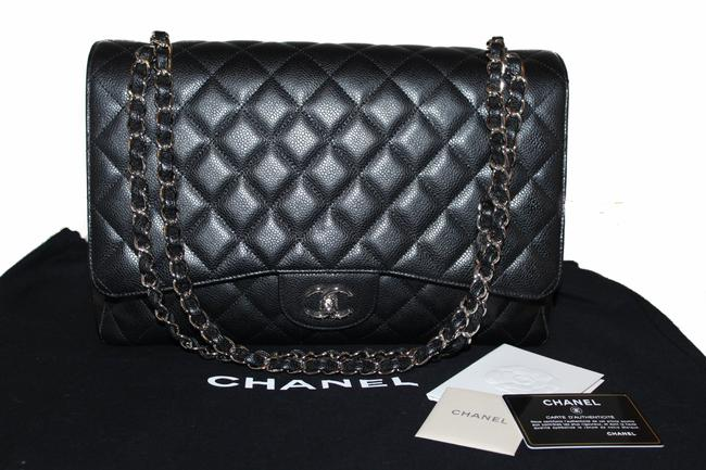 Chanel Classic Flap Quilted Maxi Single Black Caviar Leather Shoulder Bag Chanel Classic Flap Quilted Maxi Single Black Caviar Leather Shoulder Bag Image 12