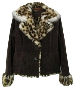 Guess Real Suede W/faux Fur Lining Brown Leather Jacket