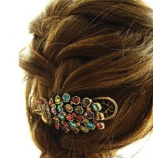 Preload https://img-static.tradesy.com/item/27723/all-around-fem-multicolor-colorful-rhinestone-peacock-clip-hair-accessory-0-0-540-540.jpg