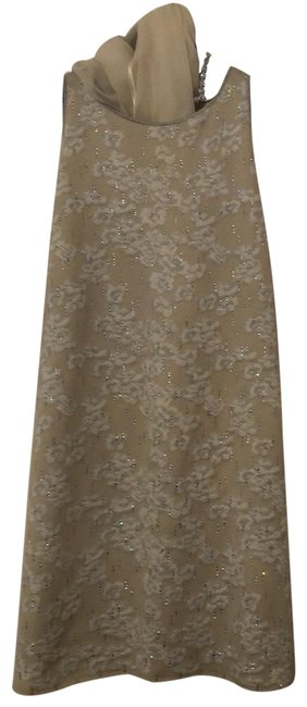 Item - Cream and White with Crystals Mid-length Formal Dress Size 16 (XL, Plus 0x)